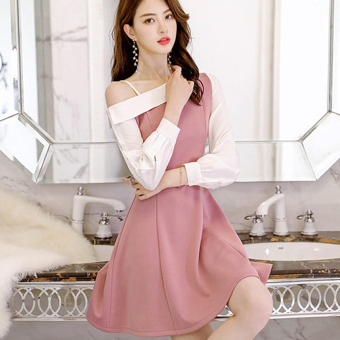 Spring Summer Dress Korean Women Office Long Sleeve Dresses Asymmetrical Neck High Waist