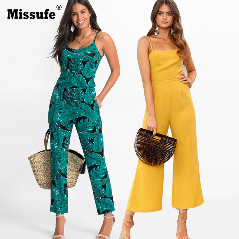 Strap Floral Printed Jumpsuit Casual Beach Party Full Length Long Overalls Summer Off Shoulder Rompers