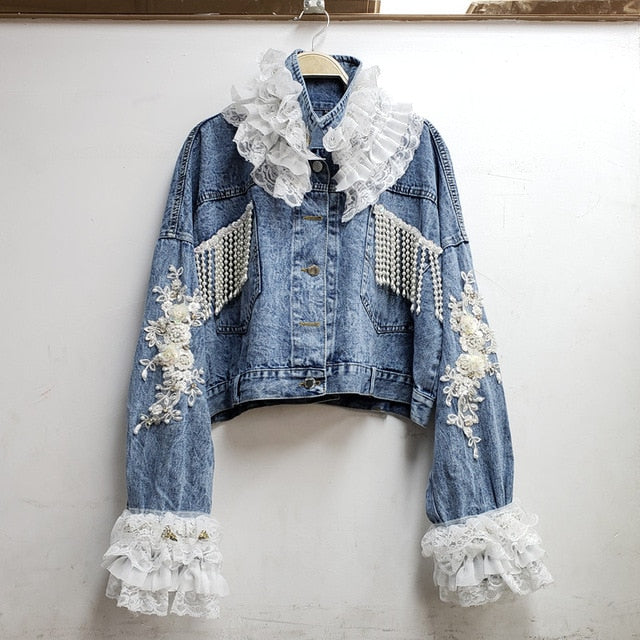 Streetwear Pearl Bead Tassel Patchwork Lace Embroidered Denim Jackets Women Jeans Coat Loose Outwear