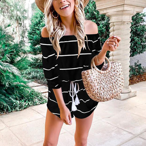 Women Boho Playsuit Jumpsuit Rompers Summer Beach Casual Mini Short Strap High Waist Striped Trouser