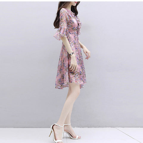 Summer Dress Women Deep V-Neck  Flower Print Hem Folds Bohemian Belt Mini Ruffle Beach Dresses