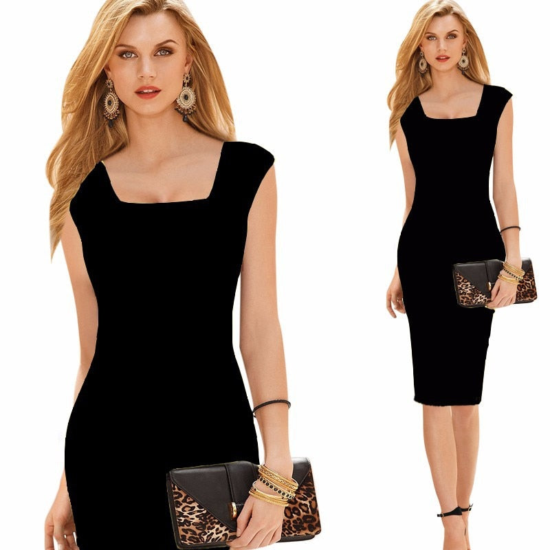 Summer Women Bodycon Dress Long Casual Pencil Black Elegant Party Dresses