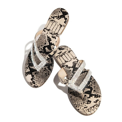 Summer Flip Flops Women Shining Crystal Slippers Leopard Flat Sandals Beach Slippers
