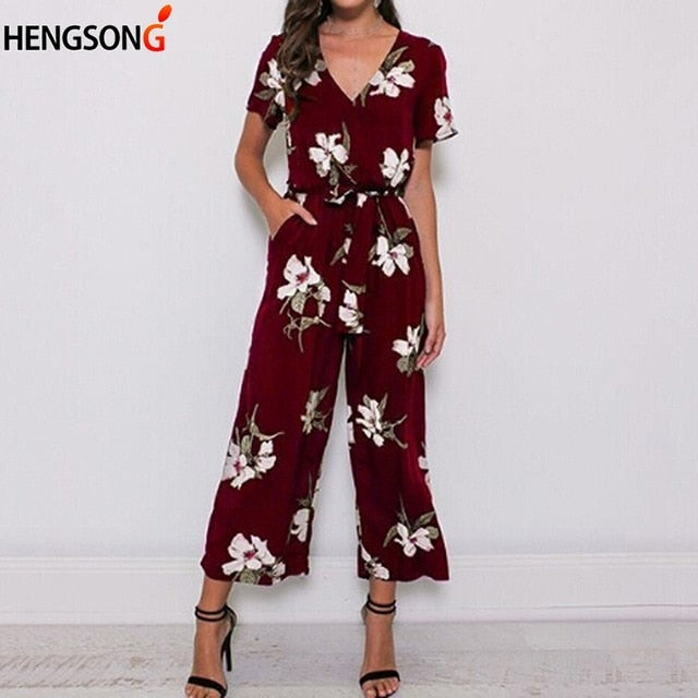 Summer Women Romper Loose Casual Beach Wear Printed Pocket Sashes Jumpsuit Overalls Office Bodysuit
