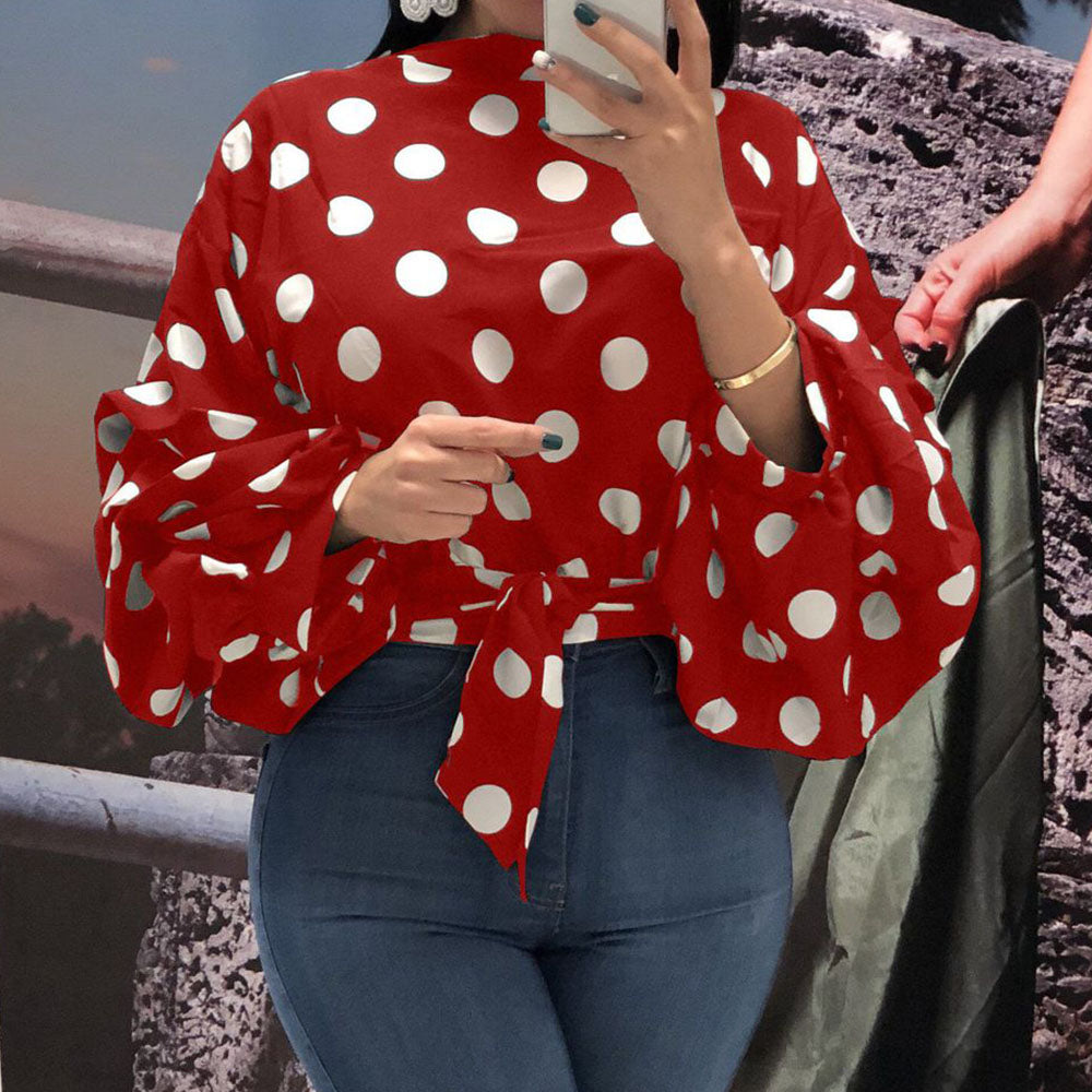Summer Office Plus Size Red Short Blouses Women Casual Long Lantern Sleeve Polka Dots Crop Tops