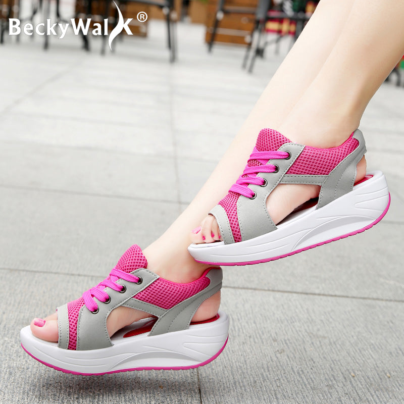 Summer Platform Sandals Women Candy Color Lace-up Casual Breathable Mesh Wedge Sneakers Shoes