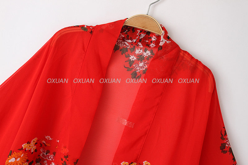 Summer Women Vintage Flower Print Red Chiffon Blouse Shirt Loose Chiffon Kimono Cardigan