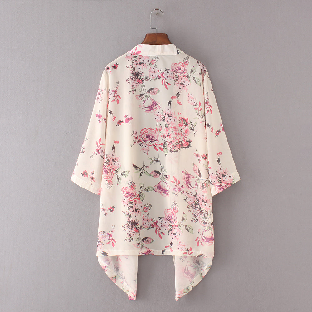 Summer Women Floral Kimono Cardigan Half Sleeve Chiffon Loose Flower Print Cape The Knits Blouse Tops Shirts