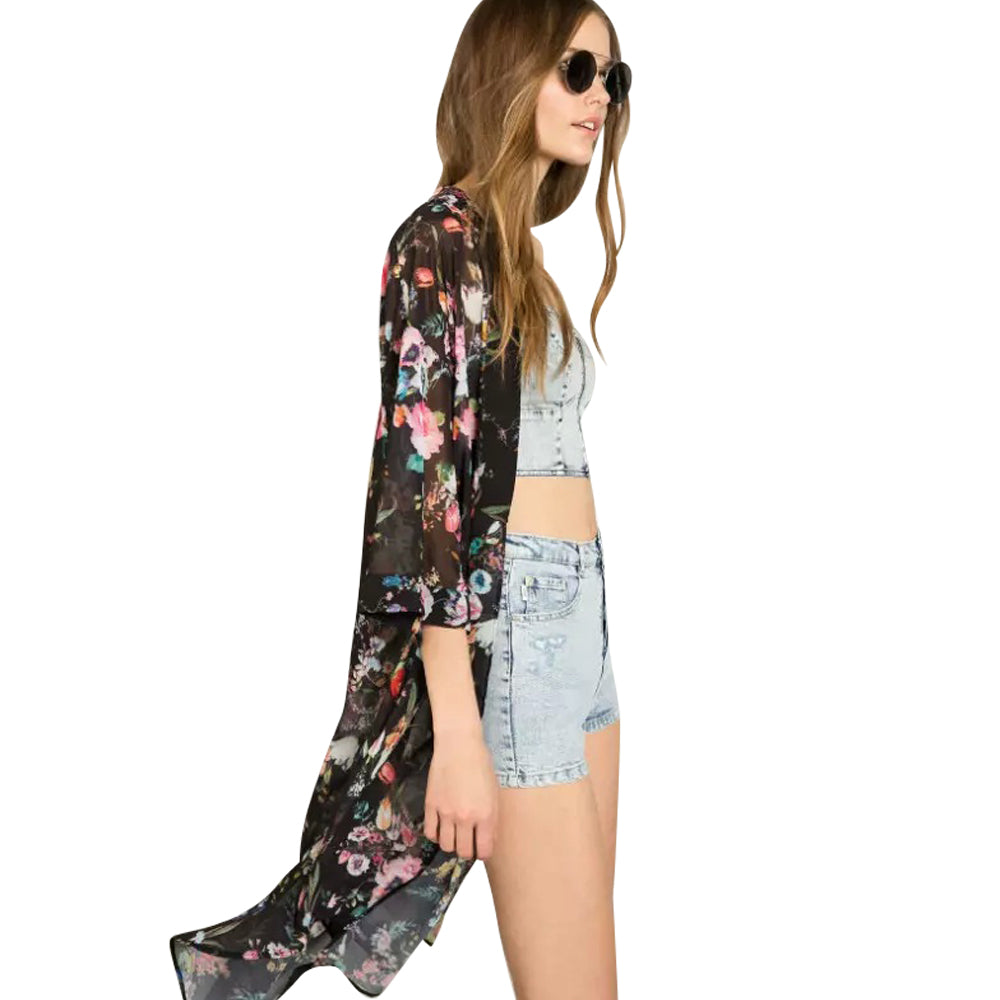 Summer Style Women Top Flower Print Casual Three Quarter Sleeve Floral Kimono Chiffon Blouse