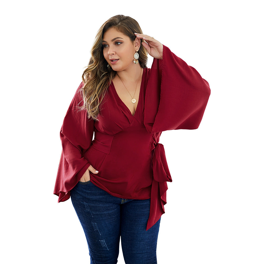 Summer Tops Women Plus Size Clothes Ruffle Long Sleeve V Neck Wrap Chiffon Shirts Blouses Casual Tops