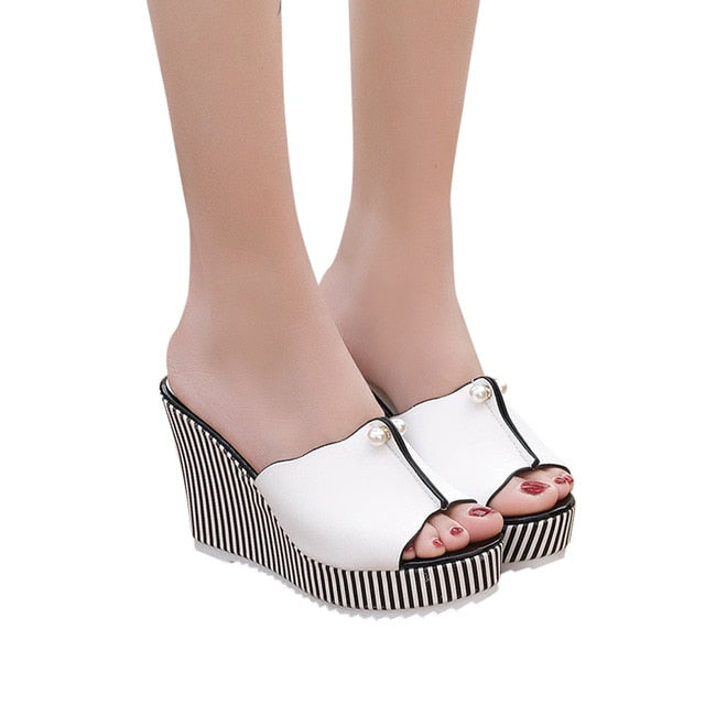 Summer Wedges Sandals High Heels Beach Slippers Platform Stripe Pearl Sandals Flip Flops Women Shoes