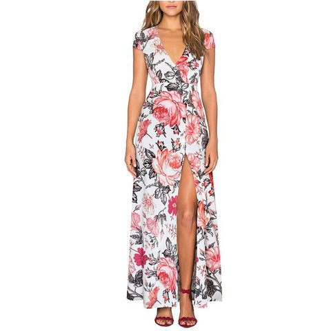 Summer Women Casual Floral Print V Neck Dress Short Sleeve Ankle-Length Long Maxi Dresses