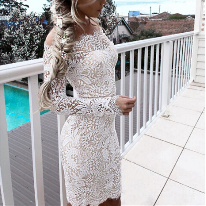 Floral Vintage Retro Dress Long Sleeve Off Shoulder Patchwork Bodycon Lace Party Dress