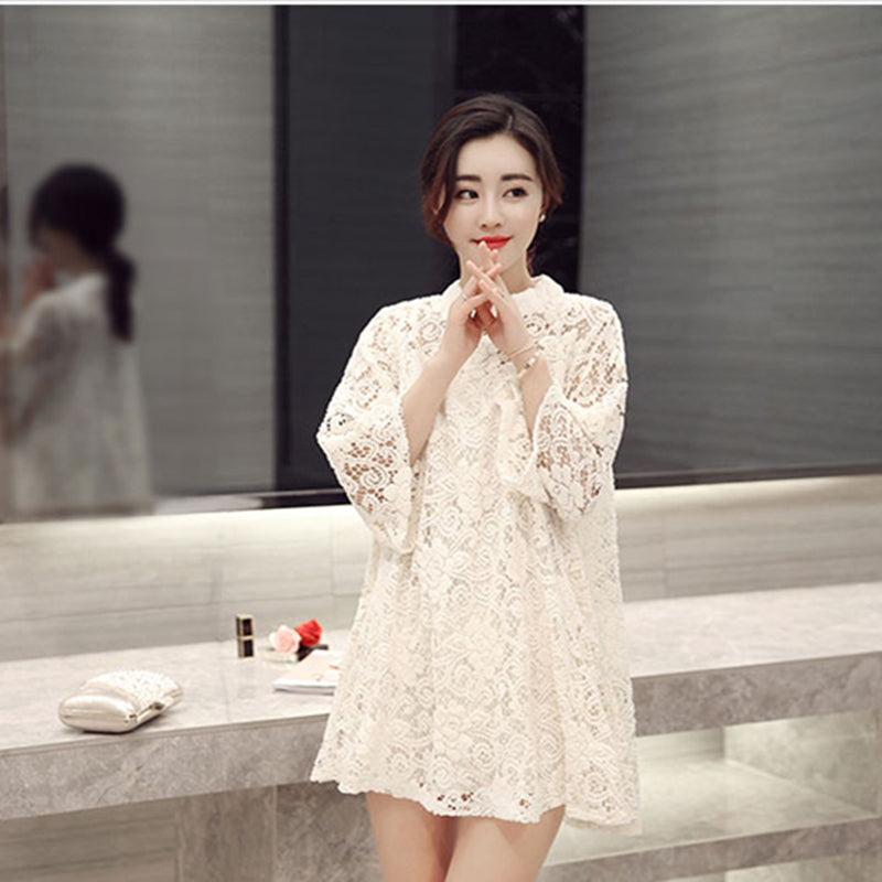 Summer Women Lace Hollow Loose Dress Casual Sweet O-Neck Pullovers Three Quarter Sleeve Two Pieces White Black Dresses