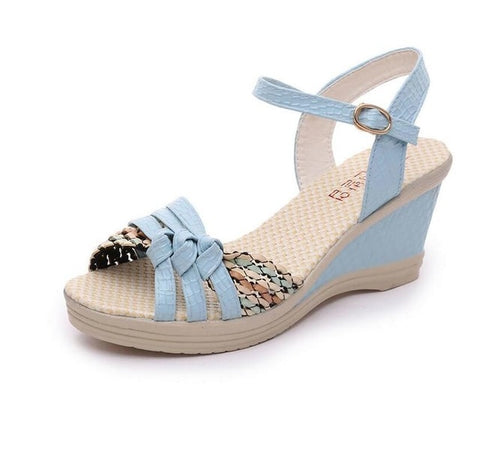 Summer Women Sandals Shoes Solid Color Buckle Strap Open Toe Wedges Shoes Mid Heel