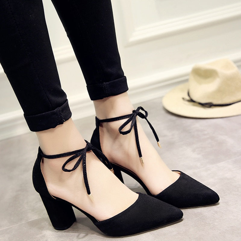 Summer Women Shoes Pointed Toe Pumps Shoes High Heels Boat Shoes Wedding Shoes Side Straps