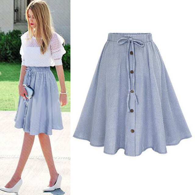 Summer Women Skirt Vintage Stripe Print Lace-up Button High Waist Skirts Pleated Cotton Midi Knee-length Skirts