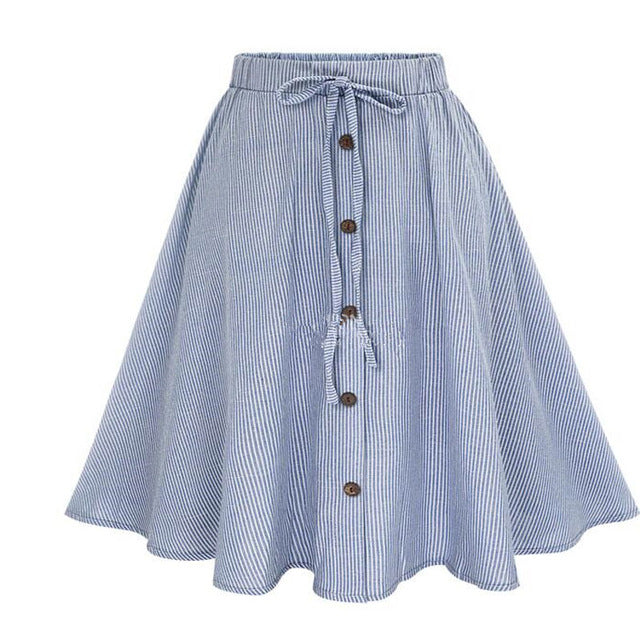 4824a38ade ... Summer Women Skirt Vintage Stripe Print Lace-up Button High Waist  Skirts Pleated Cotton Midi ...