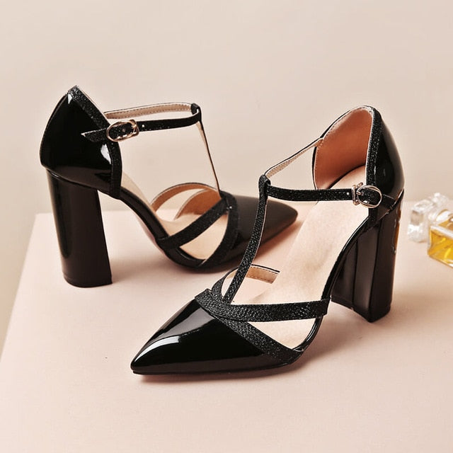 Summer Women High Heels T-Strap Block Heel Wedding Pumps Pointed Toe Shoes Red Yellow Silver Gold