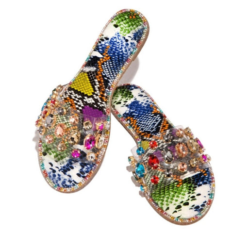 Summer Comfortable Flat Bottom Women Wild Roman Rhinestones Plus Size Outdoor Slippers Shoes
