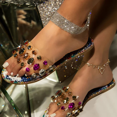 Women Crystal Slippers Summer Rhinestone Petal Shoes Sandals
