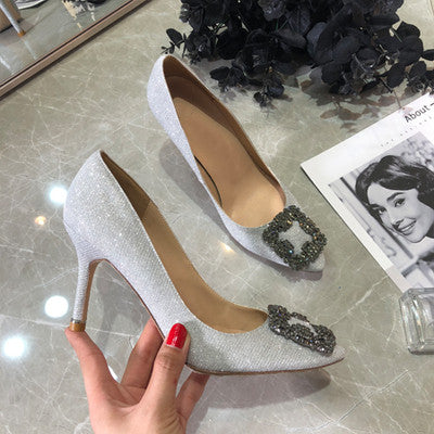 High Heels Shoes Women Shiny Faux Crystal Diamond Buckle Pointed Toe Nightclub Party Pumps