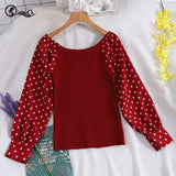 Sweet T-shirt Women Dot Point Stitching Basic Tops Lantern Sleeve Slim Korean T-shirt Pullovers