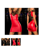 Tight-fitting Lace Dress Slim Wet Look Bandage Vinyl Red Dress Leather Bodycon