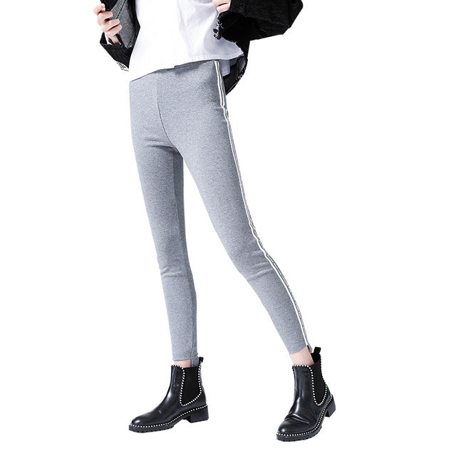 Women Spring Slim Striped Solid Color Elastic Waist Casual Long Leggings