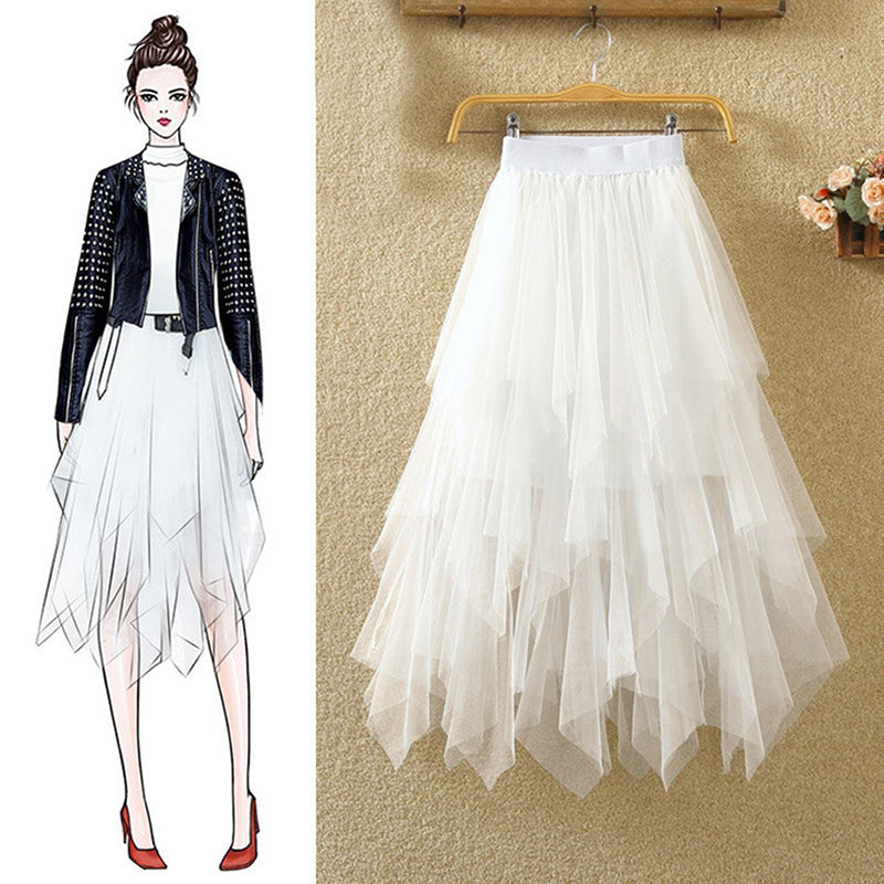 Tulle Skirts Women Moda Elastic High Waist Mesh Tutu Maxi Pleated Long Midi Skirt