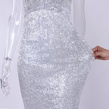 V Neck Sequined Party Padded Backless Bodycon Mermaid Maxi Floor Length Sleeveless Dresses Navy Blue Silver