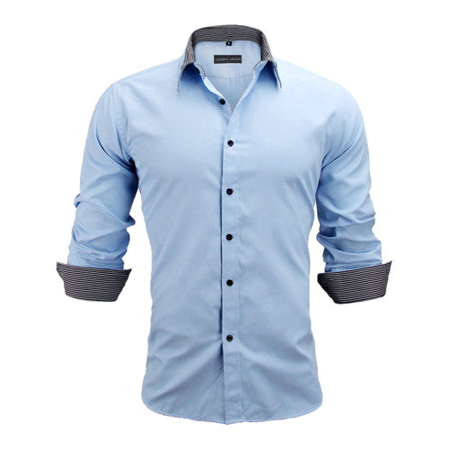 Men Shirts Europe Size Slim Fit Male Shirt Solid Long Sleeve British Style Cotton Shirt