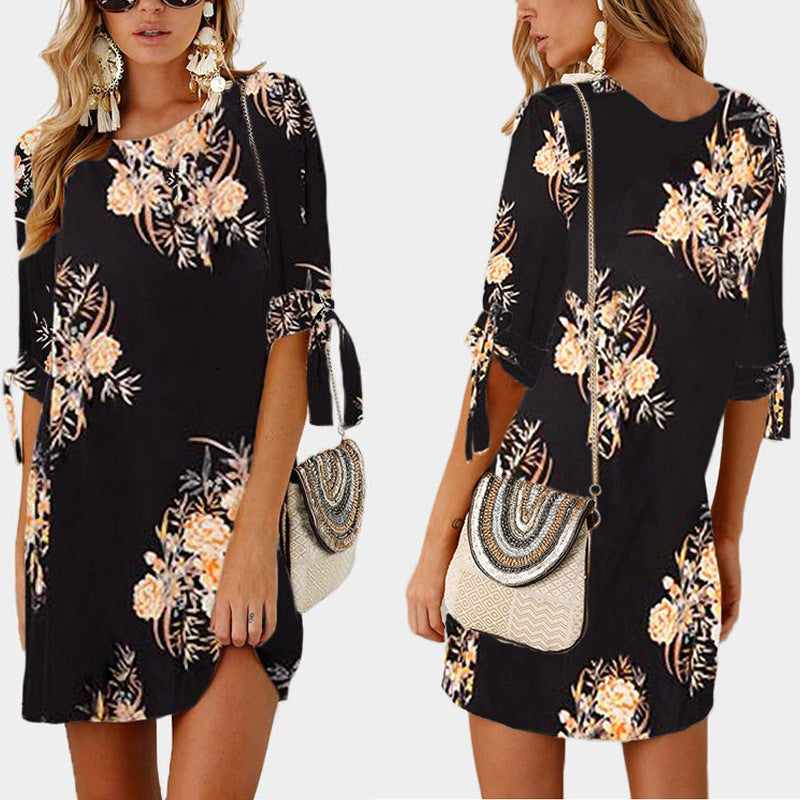 6efab32193 Women Short Beach Casual Pencil Shirt Dress Summer Black Print Loose  Elegant Mini Party Dresses