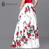 Long Skirts Women White Print Floral Red Rose Pleated Maxi Skirts Full Ball Grown Party High Waist Skirt