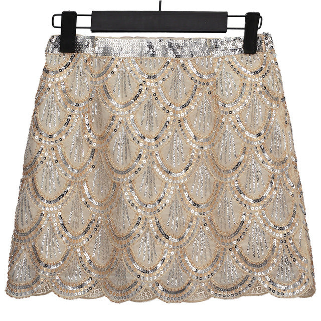 Vintage Flapper Costume Fish Scale Sequin Skirt Bead Embellished High Waist Mini Chiffon Party Skirt