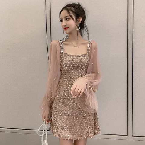 Vintage Beading Mesh Patchwork Korean Dress Women Autumn Street Kawaii Mini Dresses Long Sleeve