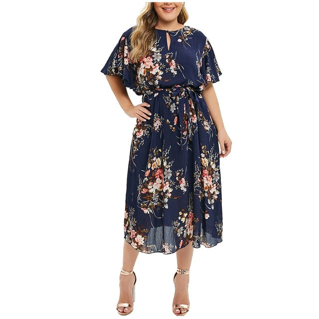 Vintage Dress Women Plus Size Long Sleeve Big Swing Princess Print Slim Waist Boho Floral Dresses