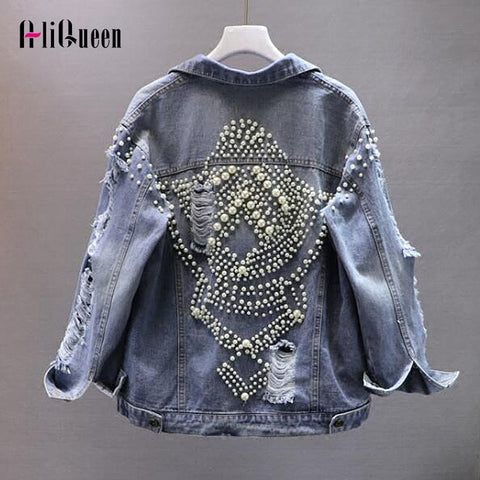 Vintage Women Cool Frayed Holes Pearls Beading Denim Jacket Loose Jeans Coats Streetwear Outerwear