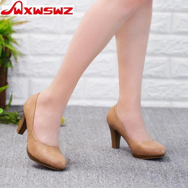 64f75f3d Women Med Heels High Quality Shoes Classic Pumps Office Shoes European Shoes