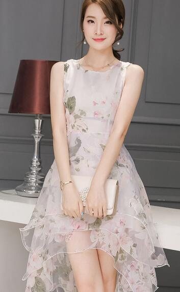 4080418796 ... White Pink Print Vintage Organza Layered Dresses Ball Gown Women  Sleeveless Dress Europe ...