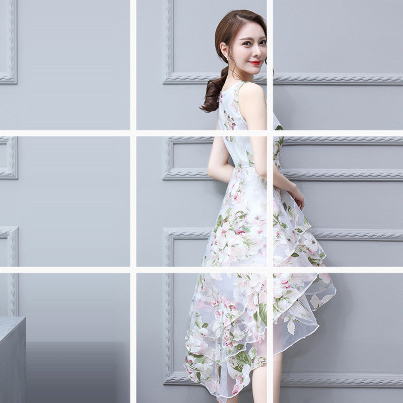 White Pink Print Vintage Organza Layered Dresses Ball Gown Women Sleeveless Dress Europe