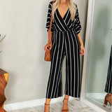 Wide-leg Striped Jumpsuit Women Short Sleeve Loose Baggy Body Romper Summer Overalls