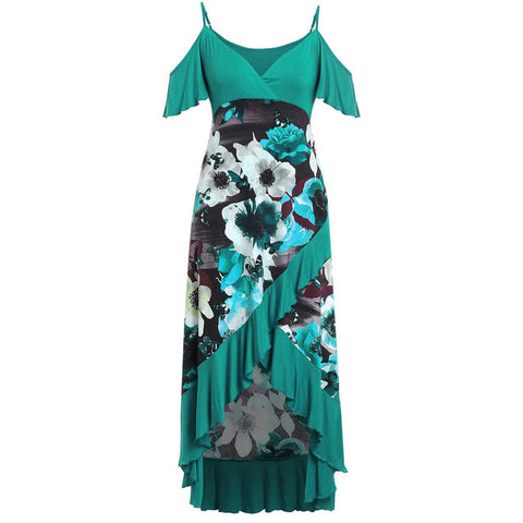 Women Summer Plus Size Cold Shoulder Floral Overlap Dress Spaghetti Strap Floral Print Beach Dresses
