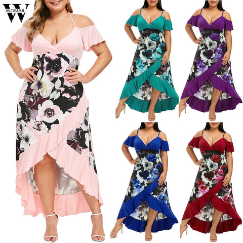 Plus Size Off Shoulder Boho Dress Ruffle Beach Flower Strap Summer Floral Print Tunic Maxi Long Dresses