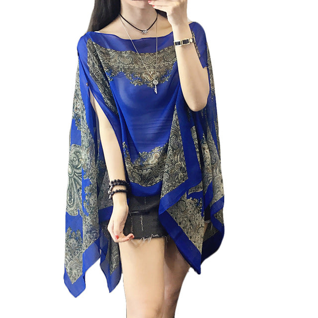 Woman Long Sleeve Thin Plus Size Blouses Shawl Scarf Cover Ups Flower Loose Chiffon Sun Protection Shawl