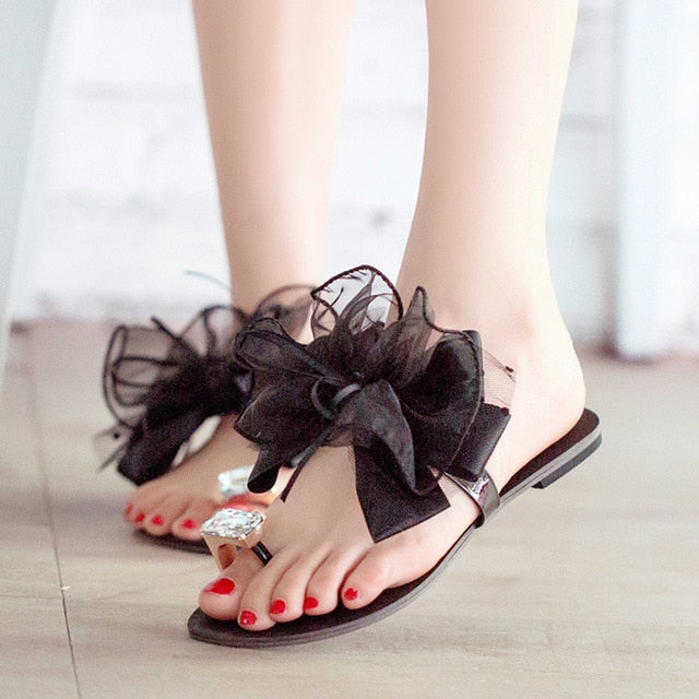 Women Sandals Shoes Rhinestones Gladiator Flat Flip Flops Sandals Crystal Silk Bow-tie Slipper