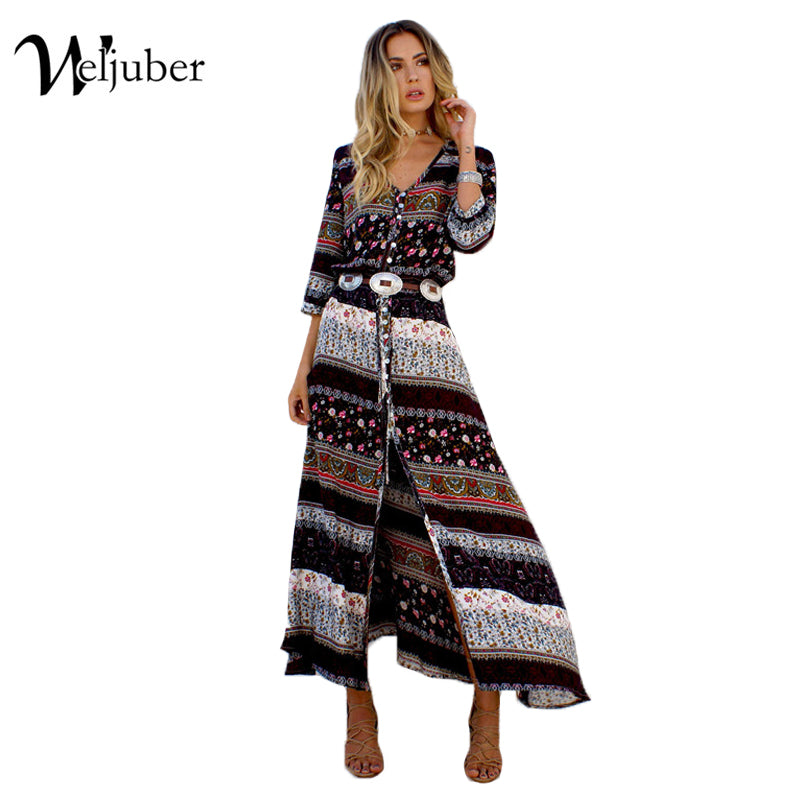 Women Beach Boho Maxi Dress Summer Brand V-neck Print Vintage Long Dresses Feminine