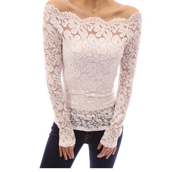 Women Blouses Lace Summer Black White Blue Red Off Shoulder Long Sleeve Lace Shirt Top Plus Size Summer Clothing