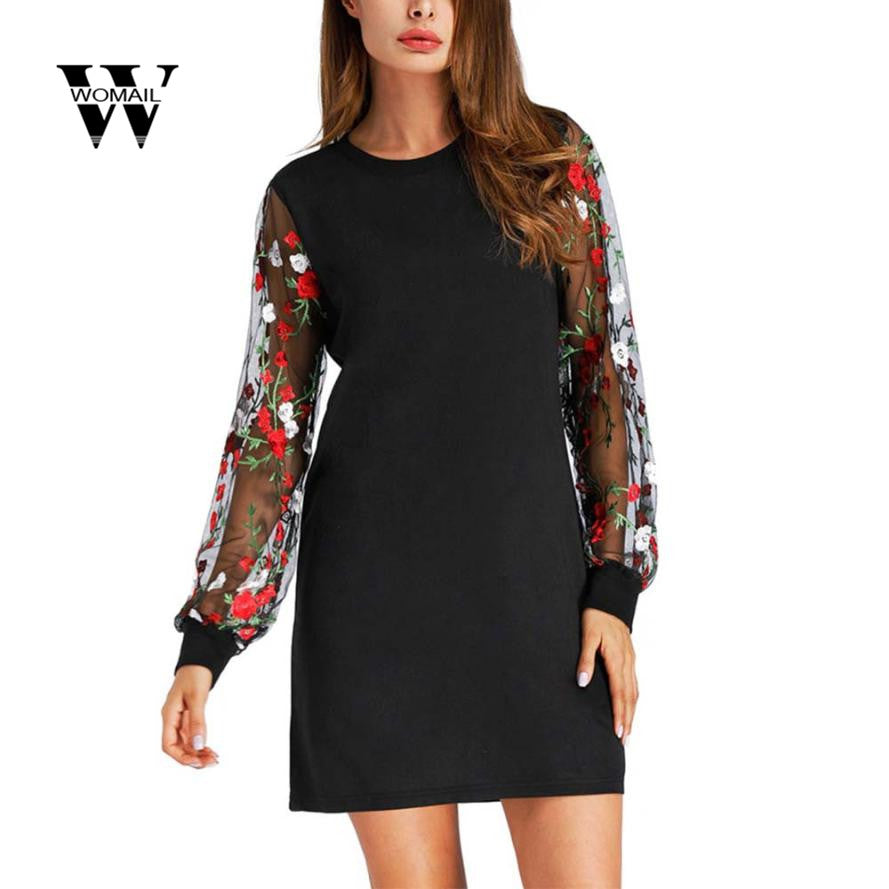 Botanical Embroidered Mesh Sleeve Long Line Pullover Black Long Sleeve Lantern Sleeve Dress