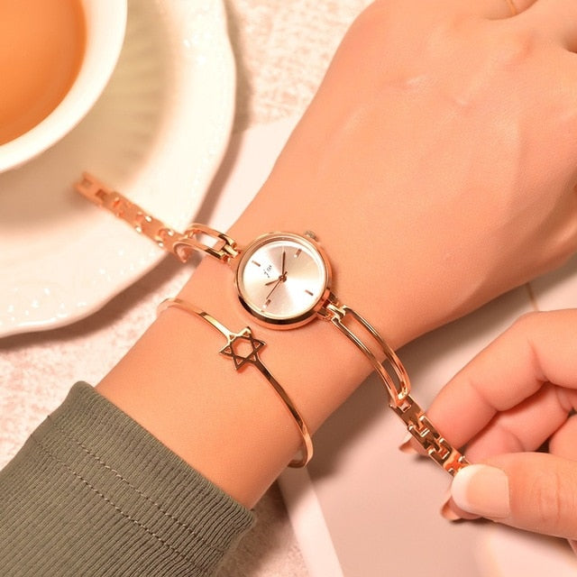 Women Bracelet Watches Stainless Steel Small Quartz Watch Qualities Simple Wristwatches Chain Clock